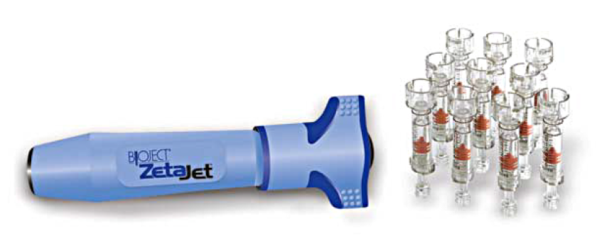 The ZetaJet needle-free injector, left, and disposable needleless syringes, right.