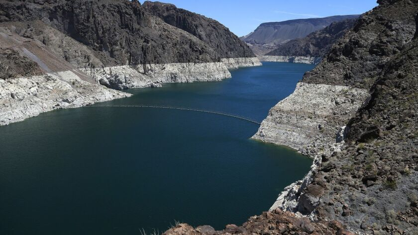"The ""bathtub ring"" around Lake Mead tells the story of its longtime decline in water level."