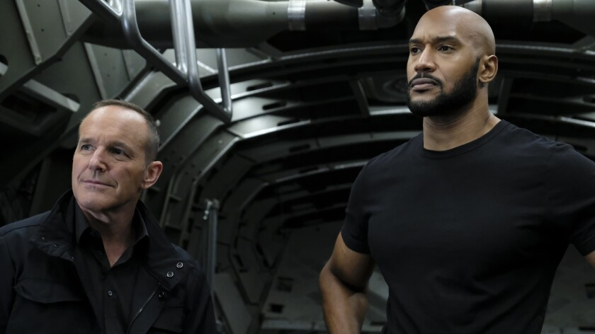 """Clark Gregg, left, and Henry Simmons in """"Marvel's Agents of S.H.I.E.L.D."""" on ABC."""