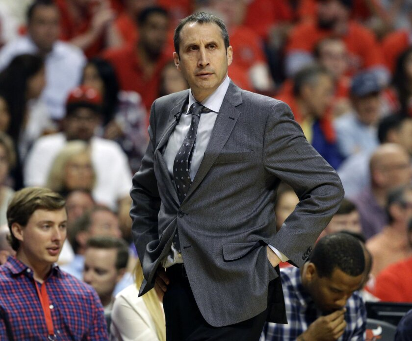 FILE - In this Friday, May 8, 2015 file photo, Cleveland Cavaliers head coach David Blatt watches his team during the second half of Game 3 in a second-round NBA basketball playoff series against the Chicago Bulls in Chicago. A person with knowledge of the details says the New York Knicks have inte