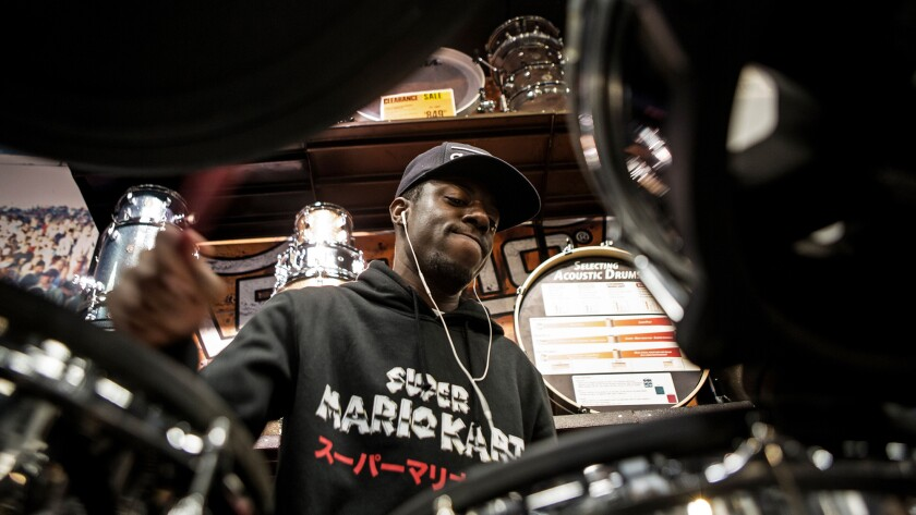 Musician Dra-Kkar Wesley frequently goes to the Guitar Center