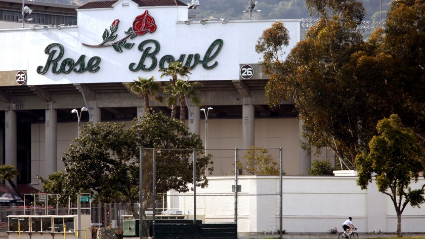 Rose Bowl stadium, as seen from Seco Street, will be the site of a College Football Playoff semifinal Monday between Oklahoma and Georgia.