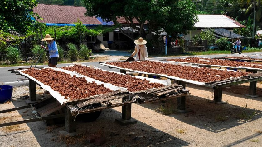 Drying shrimp paste outside a food factory in Penang, Malaysia.