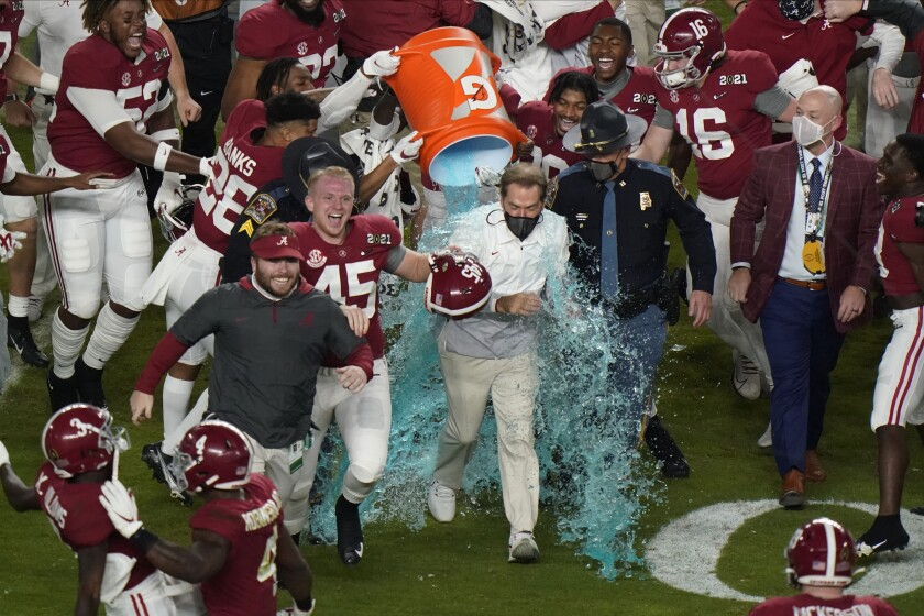Alabama coach Nick Saban gets a Gatorade shower after the Crimson Tide beat Ohio State to win the national championship.