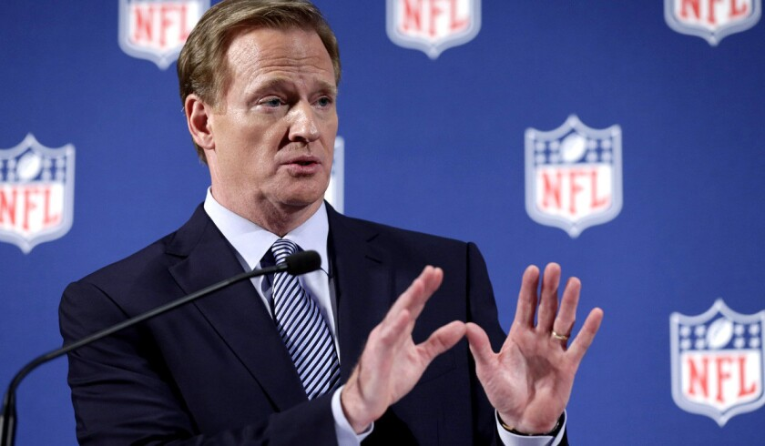 NFL Commissioner Roger Goodell fields a question from a reporter during his 45-minute news conference on Friday in New York.
