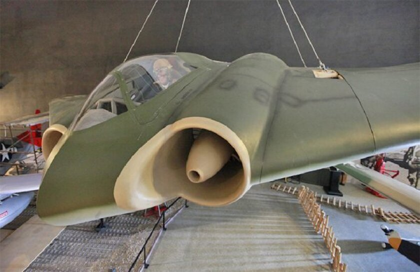 The San Diego Air & Space Museum will display a replica Horten 229, an aircraft discovered in a top-secret German facility toward the end of World War II.  (John R. McCutchen / Union-Tribune)