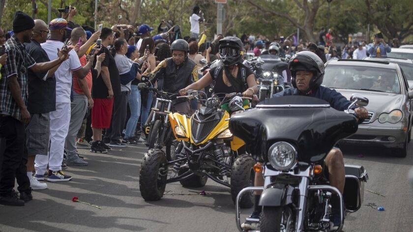 LOS ANGELES, CALIF. -- THURSDAY, APRIL 11, 2019: A variety of vehicles join the procession followin