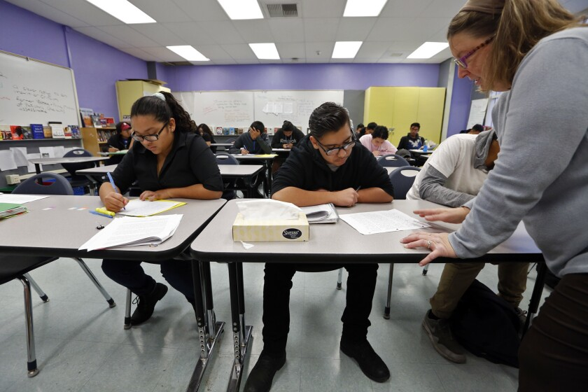On Tuesday, the L.A. Unified school board voted to maintain -- at least for the moment -- a three-week winter break, which would allow for credit recovery courses like this one at Newmark High School to continue.