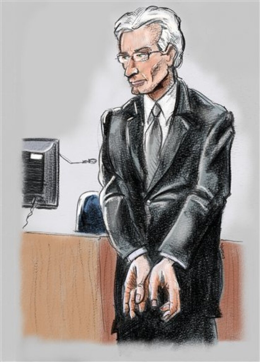 This courtroom sketch shows Former Stanford CFO James Davis, replicating for jurors the handcuffing motion he used to make to warn R. Allen Stanford that what they were doing was illegal Thursday, Feb. 2, 2012 in Houston, Texas. Davis, who pled guilty for his part in a $7 billion Ponzi scheme headed by Stanford, testified against the Texas tycoon during Stanford's fraud trial in Houston on Thursday. (AP Photo/Houston Chronicle, Ken Ellis)