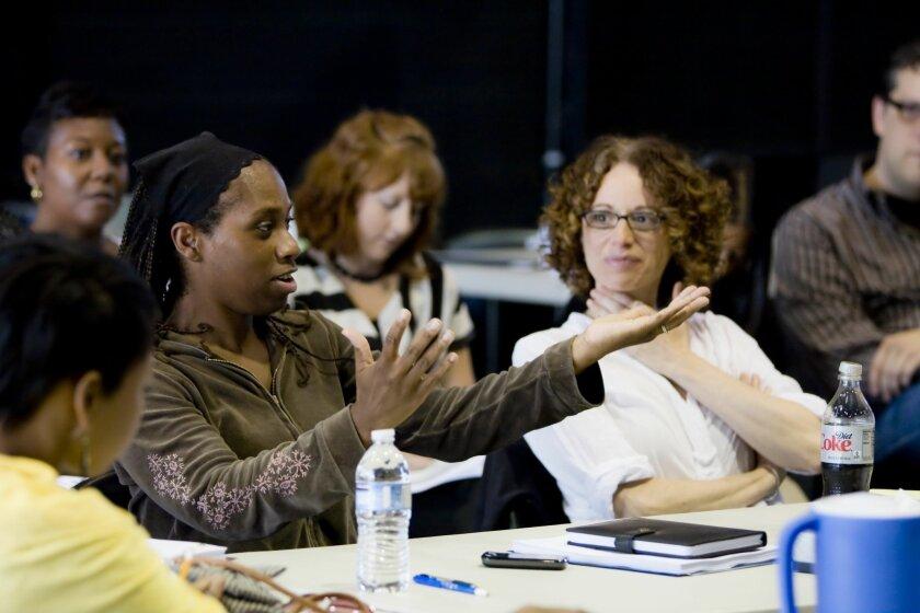 "Playwright Kirsten Greenidge (left) and director Rebecca Taichman are teaming on La Jolla Playhouse's world-premiere work ""Milk Like Sugar."""