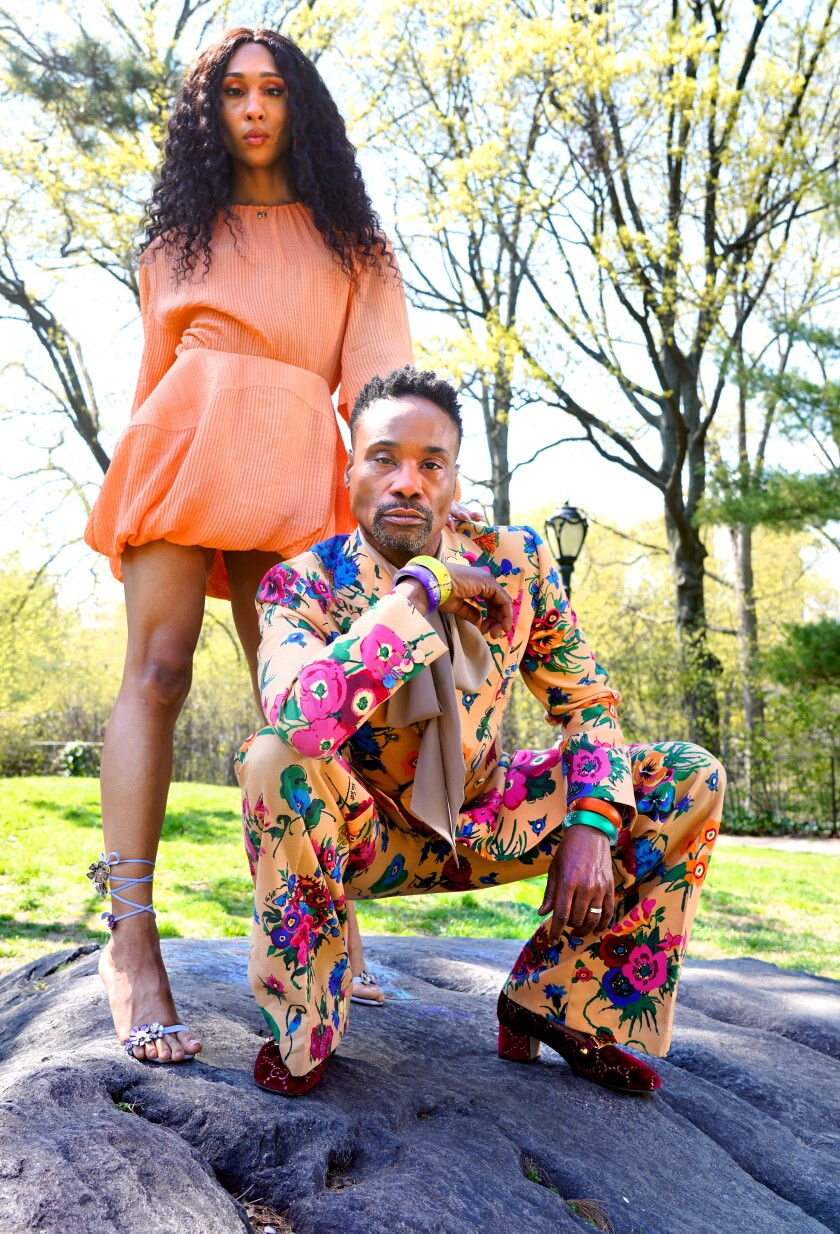 """""""Pose"""" costars Billy Porter and Mj Rodriguez on a rock in New York's Central Park."""