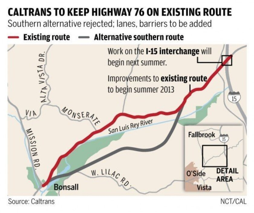 FALLBROOK: Caltrans to keep existing route when improving