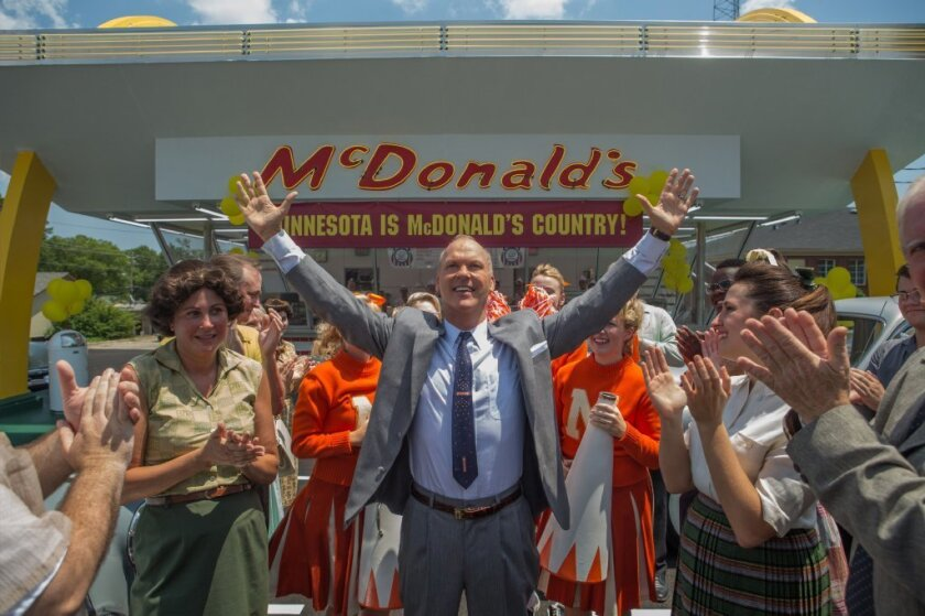 "Michael Keaton plays maverick businessman Ray Kroc in ""The Founder."""