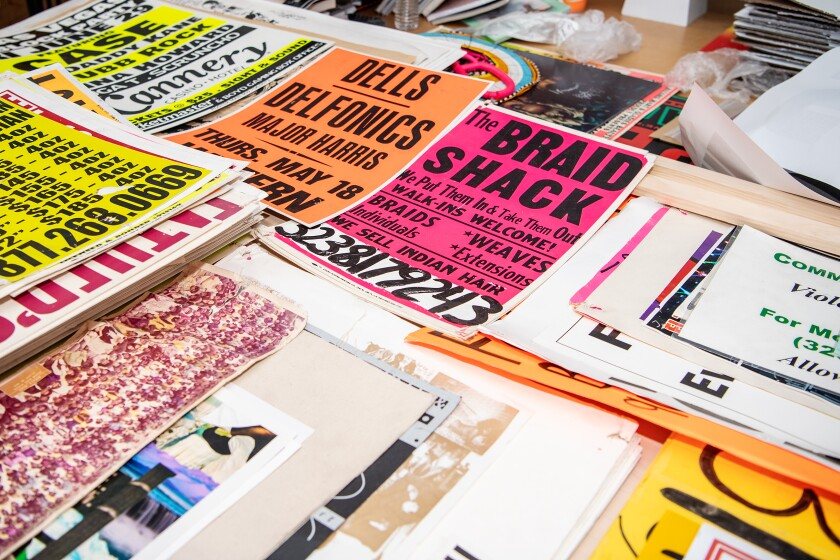 Inside the studio of artist Lauren Halsey in South L.A., where she archives art objects and printed materials.