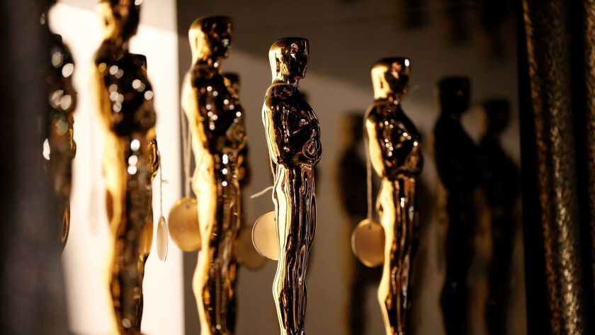 The Oscar statues backstage at the 88th Academy Awards