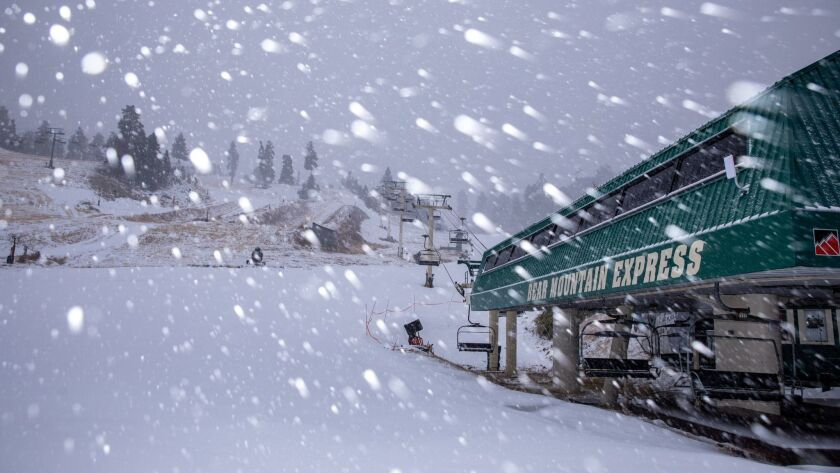 Snow falls on Big Bear Mountain Resort on Thursday. The area received 4 to 8 inches of fresh powder.