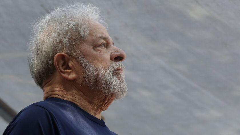Former Brazilian President Luiz Inacio Lula da Silva looks on before speaking to supporters in Sao Bernardo do Campo, Brazil, on April 7, 2018.