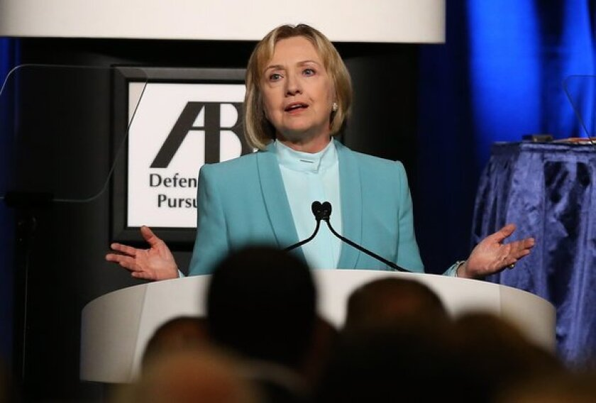 Former Secretary of State Hillary Rodham Clinton speaks during the America Bar Assn. annual meeting in San Francisco.