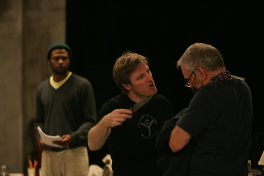 """Mfundo Morrison, Antony Hagopian and Ned Schmidtke (left to right) rehearse a scene from """"Groundswell"""" at the Old Globe."""