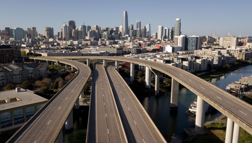 Empty freeways in San Francisco during COVID-19 stay-at-home orders