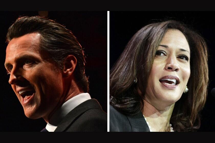 California Gov. Gavin Newsom and Vice President Kamala Harris