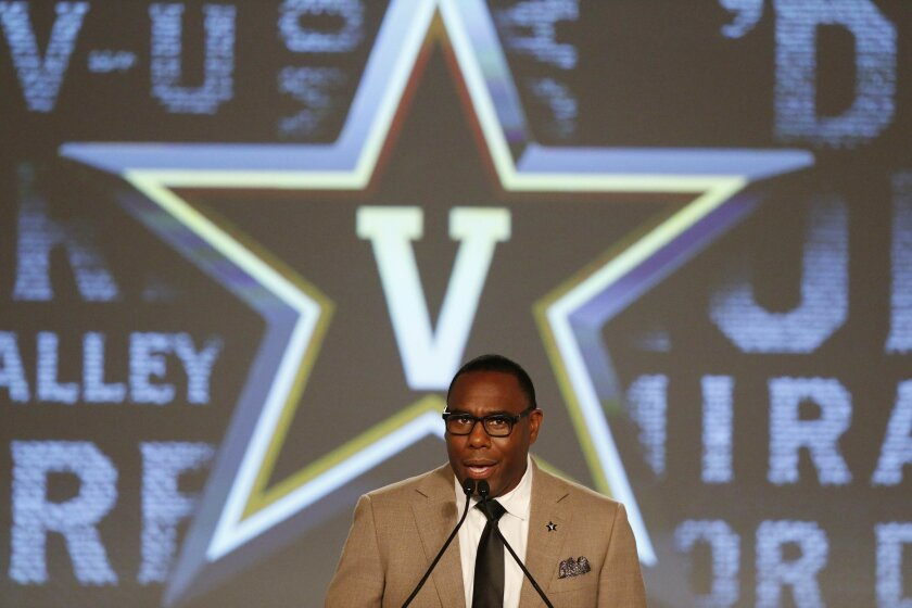 Vanderbilt coach Derek Mason speaks to the media at the Southeastern Conference NCAA college football media days, Monday, July 11, 2016, in Hoover, Ala. (AP Photo/Brynn Anderson)