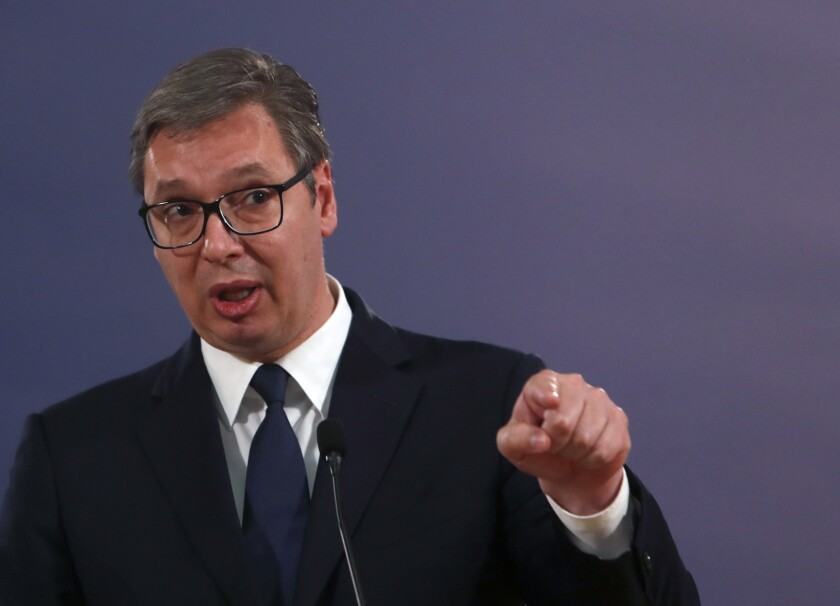 """FILE - In this Friday, May 14, 2021 file photo, Serbian President Aleksandar Vucic speaks during a press conference in Belgrade, Serbia. Serbia's president says European Union-mediated negotiations on normalizing relations with Kosovo that stalled last year will resume within days. Aleksandar Vucic on Friday, June 4 did not specify the date but said """"dialogue will continue in a very short period of time."""" (AP Photo/Darko Vojinovic)"""