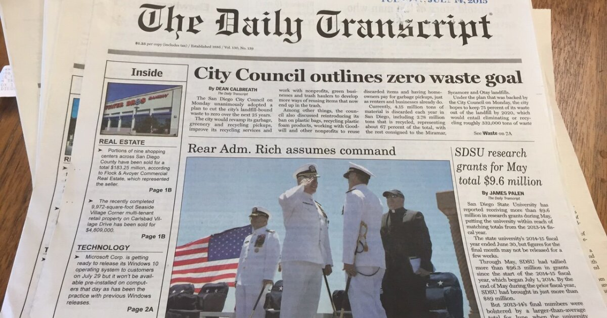 San Diego Daily Transcript going out of print - The San Diego Union