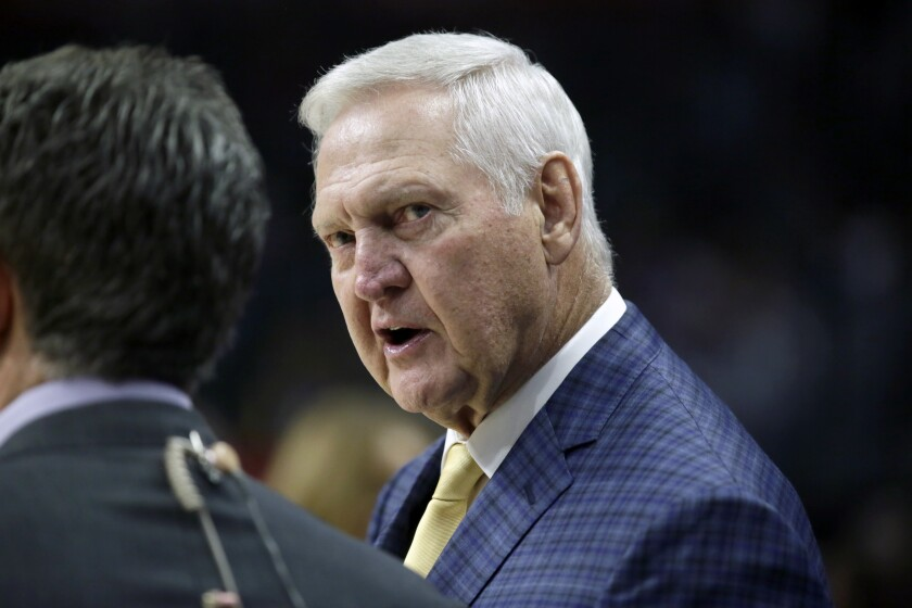 Lakers legend and Clippers consultant Jerry West speaks before a game between the Clippers and Minnesota Timberwolves.