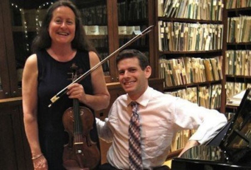 'Victoria Martino and James Lent, before their 2012 Beethoven Marathon at the Athenaeum. This Sunday, they will perform the complete sonatas of Arcangelo Corelli. Lonnie Burstein Hewitt