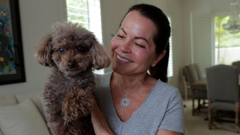 Nancy Stanley at her Carlsbad home Monday with her chocolate toy poddle named Truffles. photo by Bil
