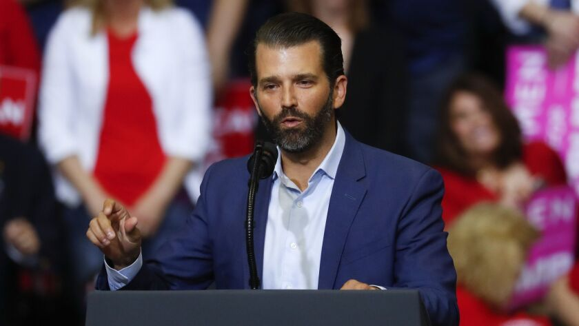 Donald Trump Jr. speaks at a Trump rally.