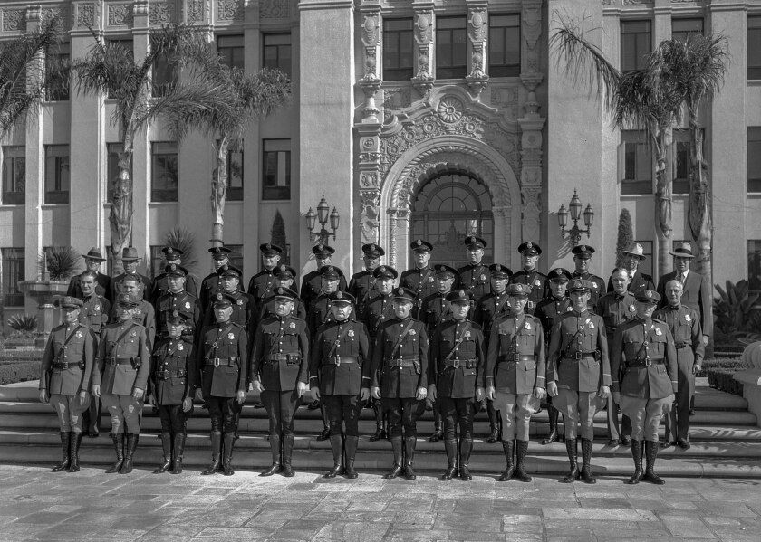 Nov. 5, 1932: Members of the Beverly Hills Police Department at Beverly Hills City Hall, during inspection.