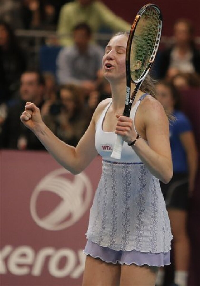 Mona Barthel of Germany reacts after defeating Sara Errani of Italy in the final match of the 21st Gaz de France WTA Open 2013 tennis tournament at Coubertin stadium, in Paris, Sunday, Feb. 3, 2013. (AP Photo/Francois Mori)