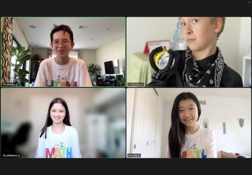 Bradley and Madelynn Carpiuc (right side), Cole Seelman and Zoe Kim (left side).