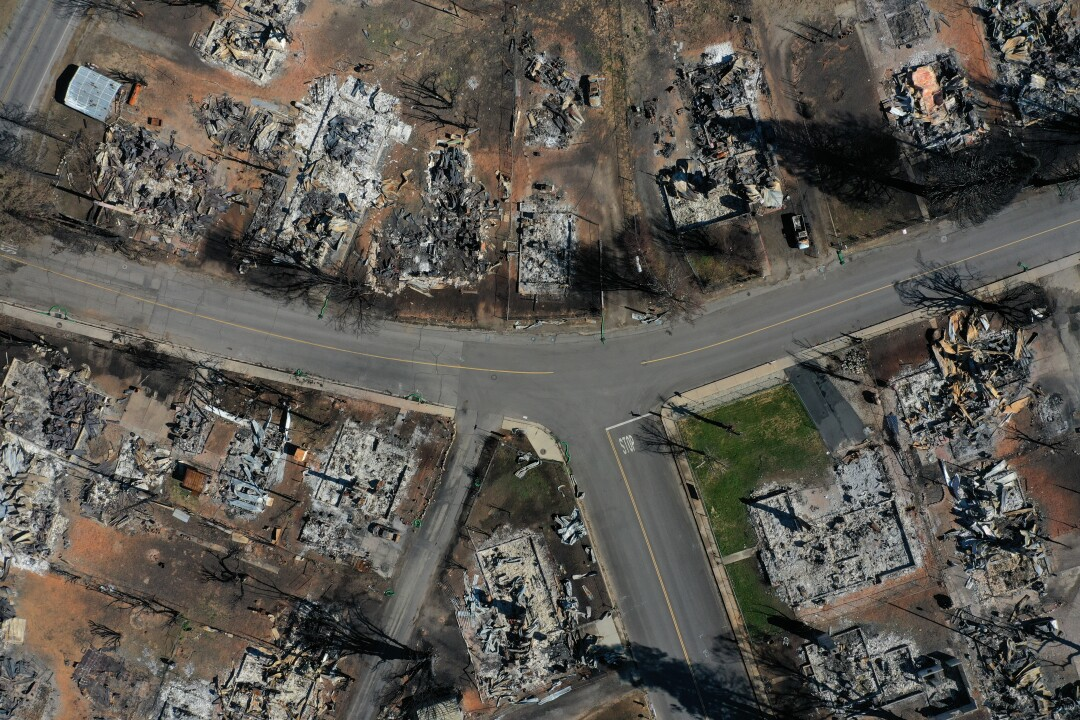 In an aerial view, the remains of homes and businesses that were destroyed by the Dixie Fire