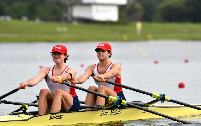Clay (left) and Sean Rybus of Newport Sea Base race in the Under-19 Time Trial in Florida.