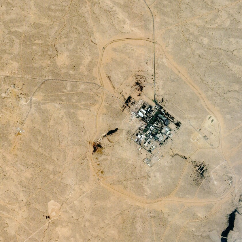 A satellite image of Dimona, Israel, where Israel reportedly built nuclear warheads.