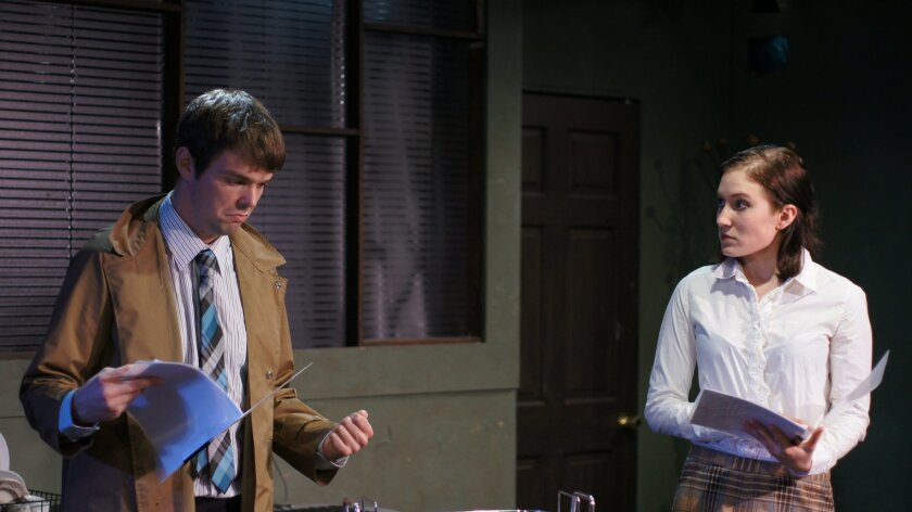 "Zack Bonin, left, and Abby Fields in the Ion Theatre production of ""Edgar and Annabel."""