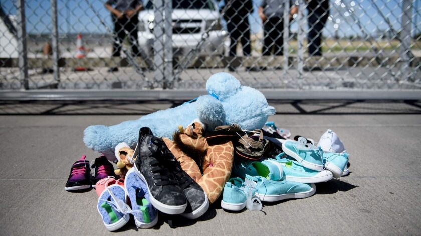 Shoes and toys left at the Tornillo Port of Entry where minors crossing the border without proper papers have been housed after being separated from adults.