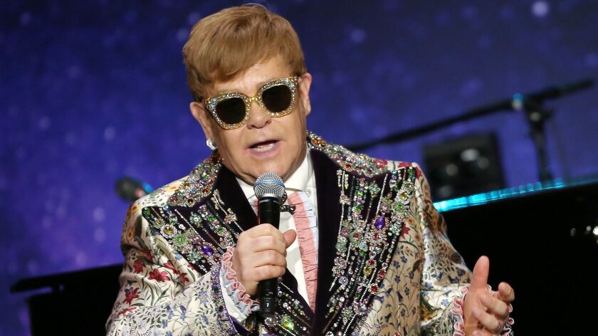 Sir Elton John in Gucci at the announcement of his farewell tour Wednesday.