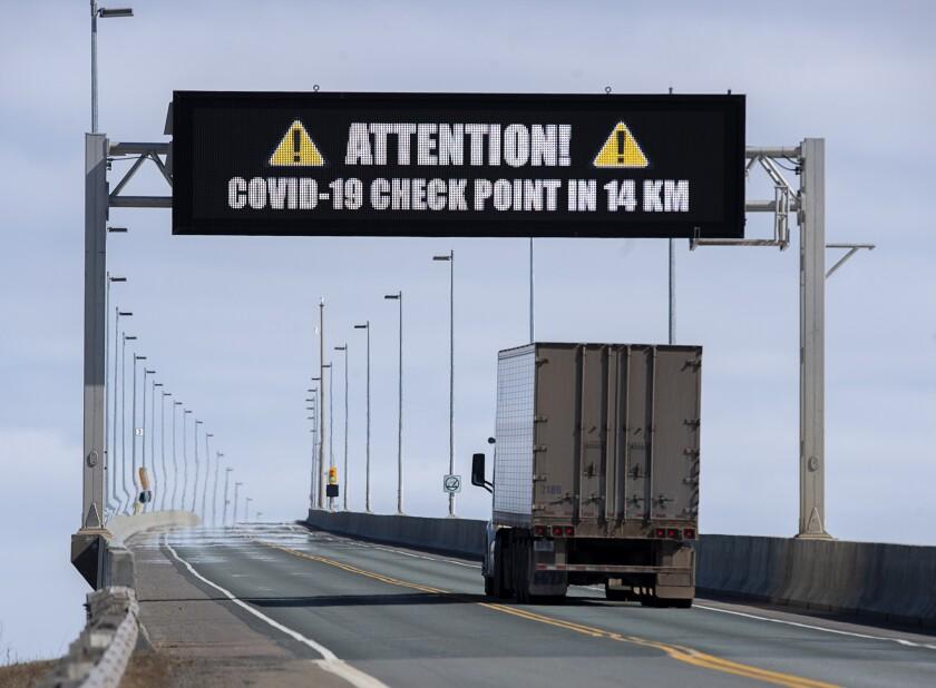 COVID-19 checkpoint on Confederation Bridge in New Brunswick, Canada