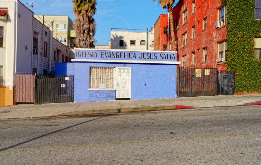 """""""Blue Church"""" is one of the churches that Kevin McCollister photographed for a Twitter project that documents the undiscovered charm of LA's storefront churches."""