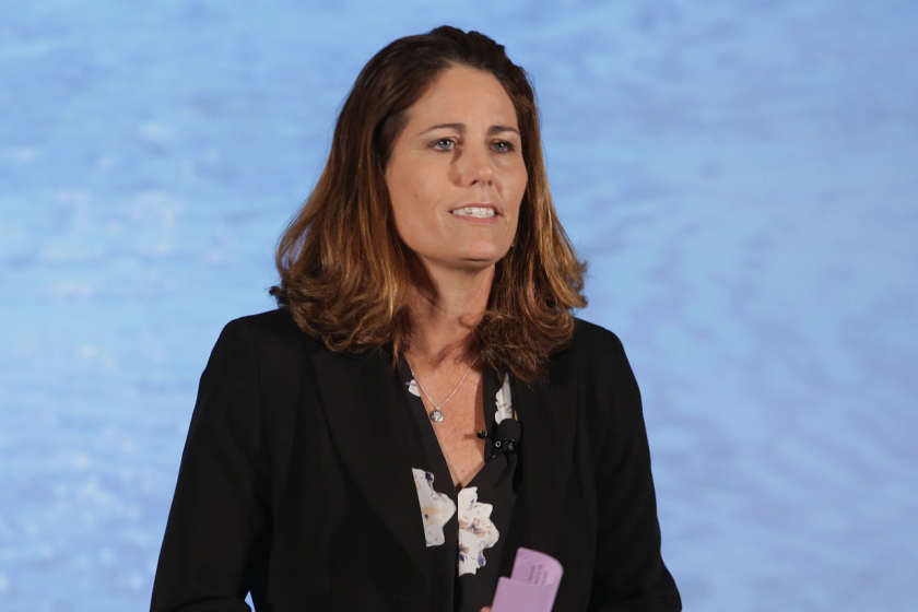 Retired Olympian Julie Foudy speaks during the 5th Annual LA84 Foundation Summit.