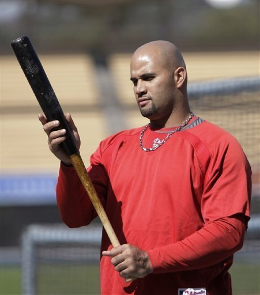 St. Louis Cardinals' Albert Pujols looks at his bat during baseball practice in Los Angeles, Tuesday, Oct. 6, 2009. The Cardinals face the Los Angeles Dodgers in Game 1 of the National League division series Wednesday. (AP Photo/Jae C. Hong)