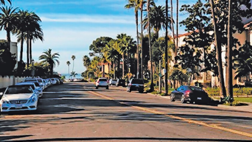 About 10 more parking spaces could be created in this area of the Village of La Jolla near The Bishop's School, with a switch to diagonal parking, says David Bourne.