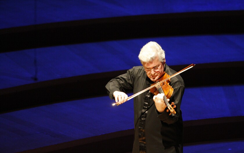 LOS ANGELES, CA-APRIL 4, 2014: L.A. Phil recital by violinist/violist Pinchas Zukerman, left, and p