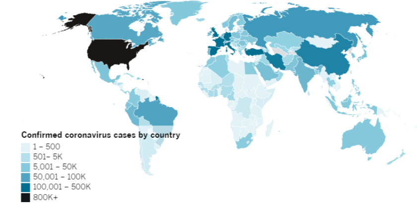 Confirmed COVID-19 cases by country as of 4:30 p.m. PDT Friday, April 24. Click to see the map from Johns Hopkins CSSE.