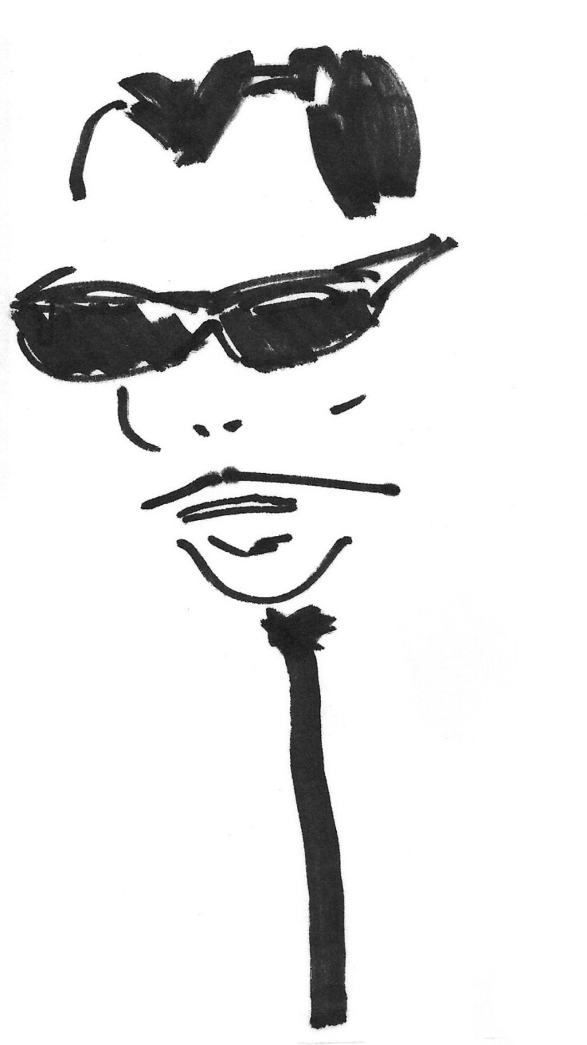 """An image of a JW Caricature by Ken Ingels featured in the book """"Mr. Know-It-All,"""" by John Waters. Cr"""