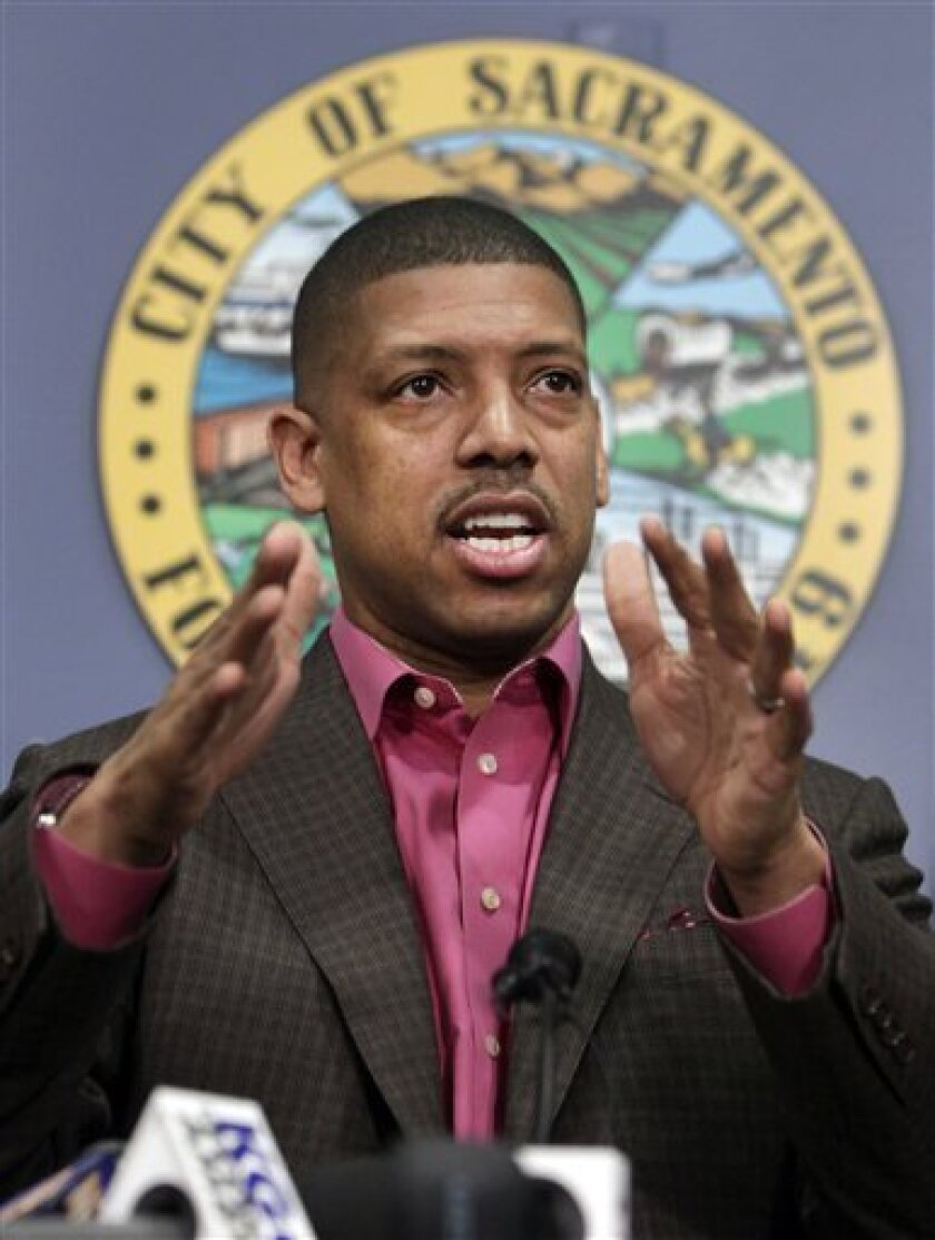 Sacramento Mayor Kevin Johnson speaks during a news conference in Sacramento, Calif, Wednesday, Jan. 9, 2013. People with knowledge of the situation said that investor Chris Hansen has contacted the Maloof family about buying the Sacramento Kings basketball team, setting up the possibility of the NBA's return to Seattle. (AP Photo/Rich Pedroncelli)